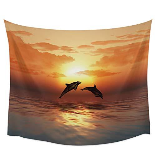 Bdhbeq Atardecer Atardecer océano delfín Salto Tapiz de Pared decoración del hogar Colgante de Pared Dormitorio Living room130x150cm