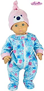 Winter Doll Pajamas for 15 Inch Dolls, 2 Piece Snowflake Sleeper Includes Night Cap