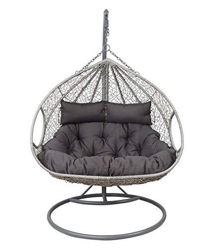 lifestyle4living Hängesessel 2-Sitzer mit grauem Stahl-Gestell, Outdoor, Korb-Geflecht in Grau, inkl. Sitzkissen | Hochwertiger hängender Garten Korbsessel