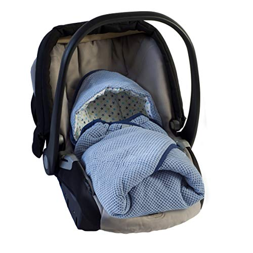 MoMika Swaddling Blanket | I'ts Perfect Road Coat I Bunting Bag I Universal Fit for Car Seat I Cybex, Maxi COSI | Stroller | Buggy or Baby Bed| 100% Cotton European Product (Blue-Stars)