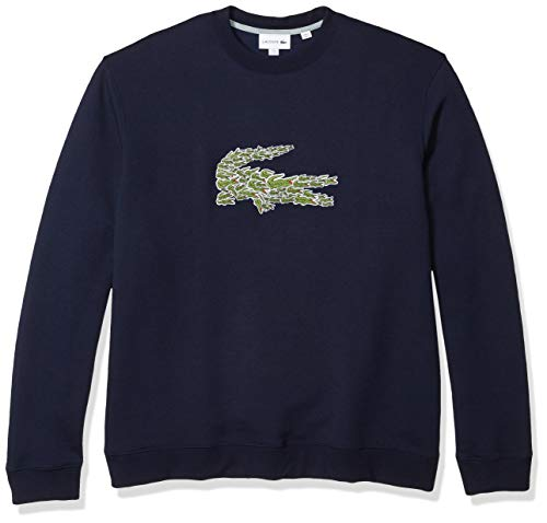 Lacoste Mens Long Sleeve Brushed Molleton Winter Sweater Sweatshirt, Navy Blue, L