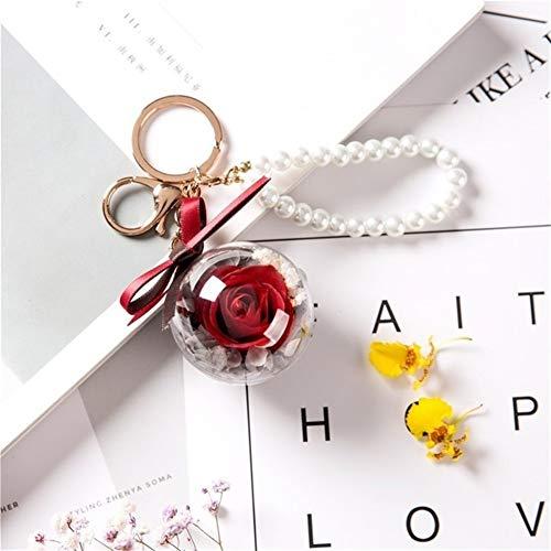 TSAUTOP Newest Ewige Rose Blume mit Lieber Glas-Schwarz-Fall-künstlicher Blumen-Geschenk for Neujahr Valentine Weihnachten GIF Gute Hauptdekoration (Color : 001)