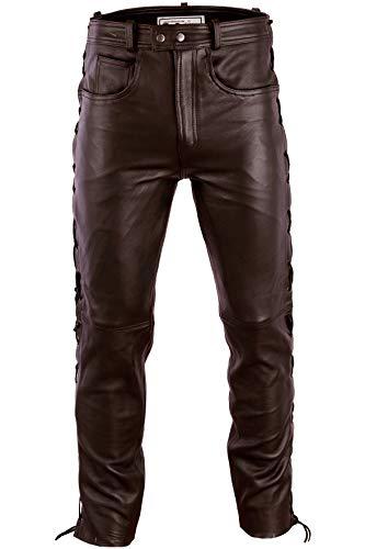Radmasters Herren Lederhose lederjeans bikerjeans jeans hose aus echtleder seitlich geschnürt, 54/XL, Dunkelbraun