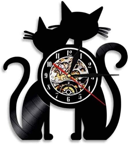 Reloj de Pared de Vinilo Gatos Pareja Reloj de Pared con Disco de Vinilo Reloj de Pared Hecho a Mano Adorno de Gatos Silueta Arte de Pared Reloj de Pared Decorativo Moderno-con LED