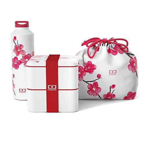 monbento - Lunch box set Blossom - Japanische Blumen design - mit MB Square graphic Blossom Bento Box, MB Steel Edelstahl Trinkflasche BPA frei und MB Pochette Tasche