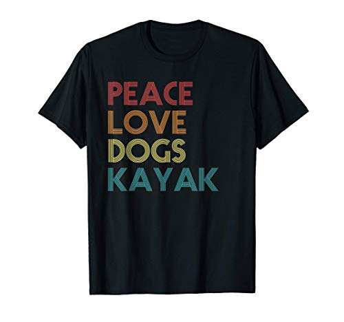 Kayaker Kayaking Apparel Kayak And Dog Lovers Vintage Retro T-Shirt