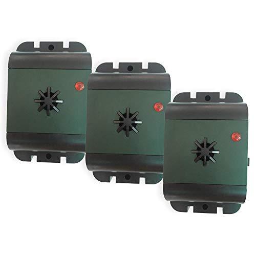 ISOTRONIC® Ultrasonic Bird Repeller device, Battery powered portable Bird Deterrent, Pigeon Scarer - Pack of 3 Pcs.