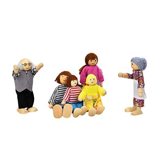 Fulltime® Bébé jouet éducatif, 6 poupées Cartoon en bois famille enfants semblant jouer jouet de cadeau