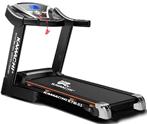 KAMACHI KTM-03 2.5 HP (4HP Peak) Motorized Treadmill with Manual Incline, Black