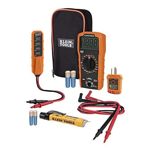 Kit de teste elétrico de multímetro digital, testador de tensão sem contato, testador de receptáculos, estojo de transporte e ferramentas Klein para baterias MM320KIT
