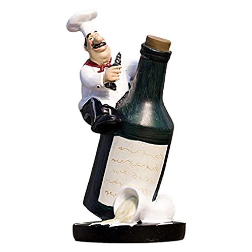 MagiDeal Estatuilla Decorativa de Chef de Cocina - Decoración del hogar de Resina Decoraciones de encimera de Cocina Regalos de inauguración de la casa - Sentarse en la Botella de Vino