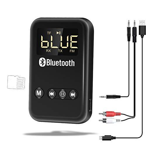 ODLR Real Bluetooth 5.0 Adapter Transmitter Empfänger Auto, Keine Latenz FM TF-Kartenmodus 4 in 1 Real Bluetooth 5.0 Wireless Sender Empfänger für TV PC Kopfhörer autsprecher Auto Radio
