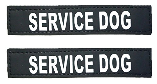 Albcorp Reflective Service Dog Patches with Hook Backing for Service Animal Vests /Harnesses Small (4.6 X 1) Inch