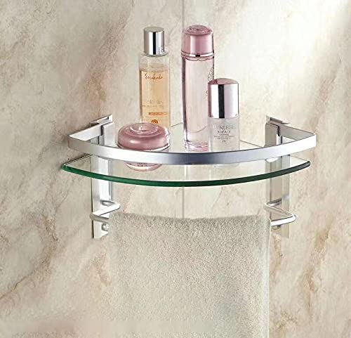 Estante angular de cristal templado con barra toallero de aluminio acabado plata estante baño esquina 5018