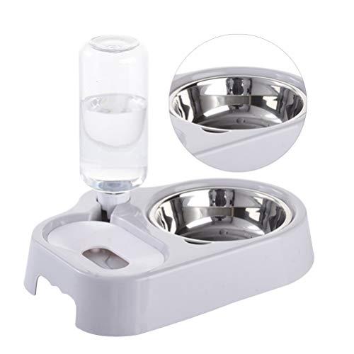POPETPOP 2in1 pet fütterungsstation pet doppelschüssel Wasser und futterautomat Auto trinkschüssel Spender für für Katze Hund (grau)