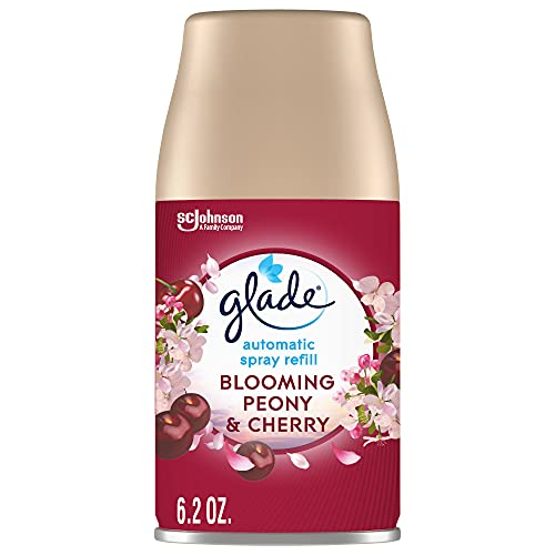 Glade Automatic Spray Refill, Air Freshener for Home and Bathroom, Blooming Peony & Cherry, 6.2 Oz