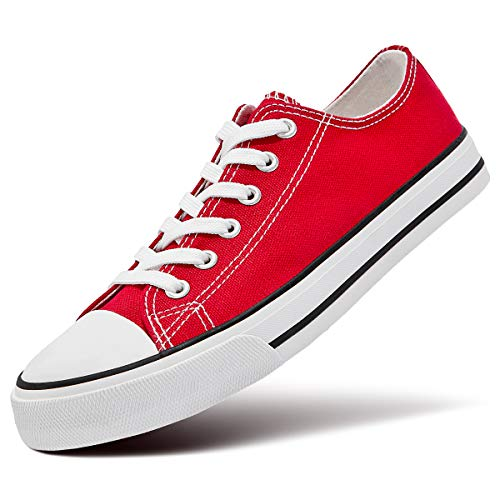 ZGR Women's Canvas Low Top Sneaker Lace-up Classic Casual Shoes (US10, Red)
