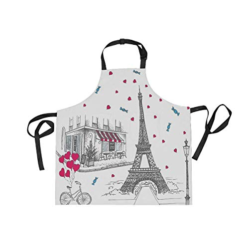 Set of French Icons Cooking Apron Chef for Kitchen BBQ Grill for Women and Men with 2 Pockets(919b)