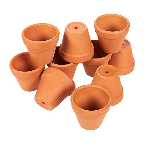 Lot de 10 petits pots de fleurs en terre cuite - Usage intérieur ou extérieur - Pour plantes, fleurs, plantes grasses - Bruns - 3 x 4,8 cm