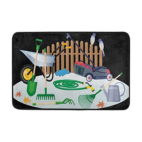JinDoDo - Felpudo para jardín, herramientas de jardinería, para cortacésped, antideslizante, lavable, para interiores, alfombrillas para baño, cocina, alfombra de 60 x 40 cm