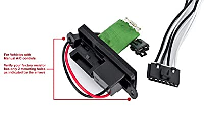 HVAC Blower Fan Resistor Harness Kit for Manual AC Controls- Replaces 22807122, 15305077, 973409 - Compatible with Chevy, Cadillac & GMC Vehicles - Escalade, Avalanche, Silverado, Tahoe, Sierra, Yukon