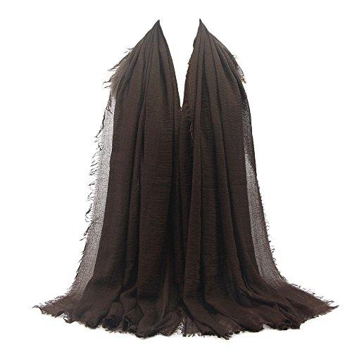 KPILP Premium Viskose Maxi Crinkle Cloud Hijab Schal Pashminas Soft Islam Muslim Kopftücher Umhang,Brown 27#