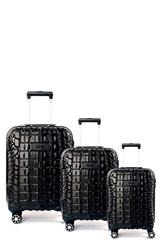 CCS Crocodile 8 Wheels Suitcase Trolley Carry On Hand Hard Shell Travel Bag Lightweight Luggage (3pcs Family Set, Black)