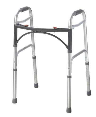 Drive Medical 10200-1 Deluxe Two Button Folding Walker, Silver