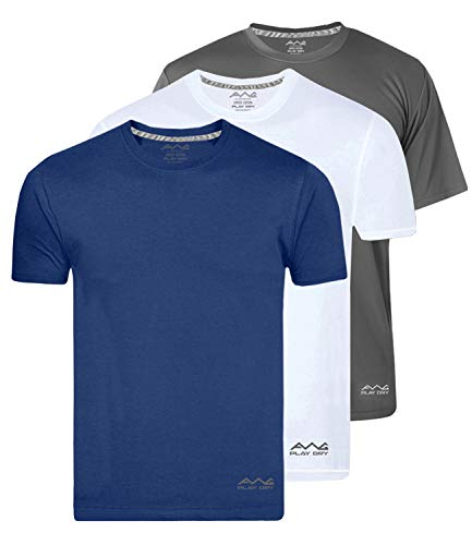 AWG - All Weather Gear Men's Dry-fit Polyester Round Neck Half Sleeve T-Shirt (Multicolour, Medium) - Pack of 3