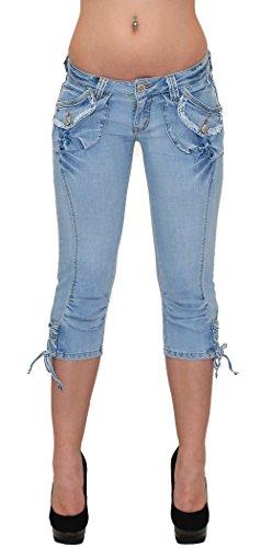 ESRA Pantacourt Femme Jean Capri Pantalon Jeans pour Femmes H11