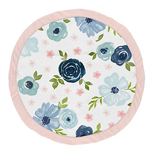 Sweet Jojo Designs Navy Blue and Pink Watercolor Floral Girl Baby Playmat Tummy Time Infant Play Mat - Blush, Green and White Shabby Chic Rose Flower