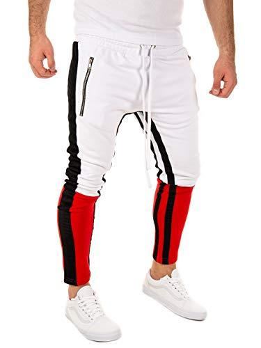 PITTMAN Herren Retro Jogginghose Biker Slim-Fit, Weiß/Rot/Schwarz (010216), S