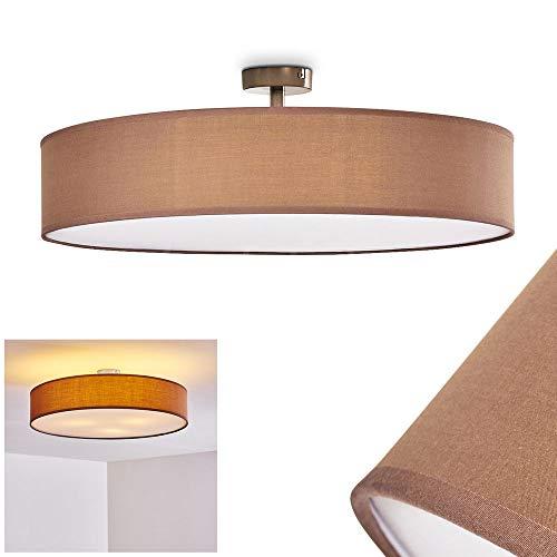 Deckenleuchte Foggia, runde Deckenlampe mit Lampenschirm aus Stoff in Braun/Weiß, Ø 60 cm, LED-fähig, 3 x E27-Fassung, 40 Watt, Retro-Design