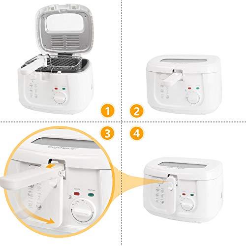 Aigostar Indra 30HEX - Friteuse 100% sans BPA avec grande fenêtre de vue, thermostat réglable et indicateurs lumineux. Couleur blanche, 1800W, capacité de 2,5L. Design exclusif.