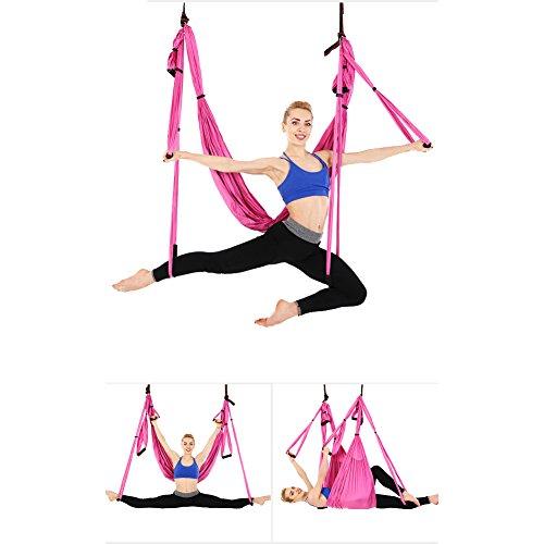 Juego de hamaca de yoga para ejercicios de inversión de yoga antigravedad, rosa