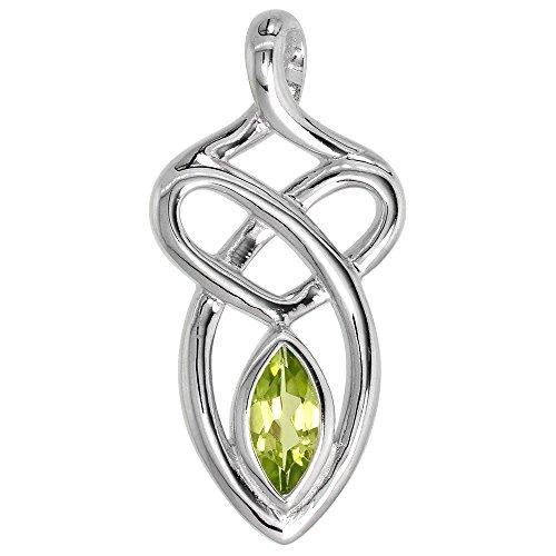 Sterling Silver Genuine Peridot Celtic Motherhood Knot Pendant, 1 1/8 inch Long