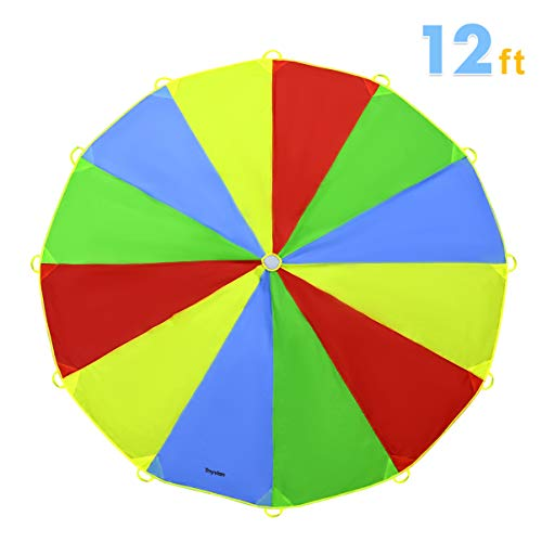 Toyvian Play Parachute 20 Feet for Kids with 12 Handles,Rainbow Parachute Toy Tent Game for Children Gymnastic Cooperative Play and Outdoor Playground Activities