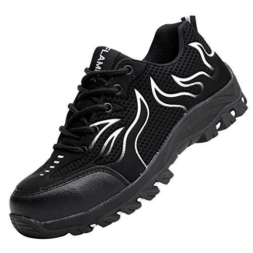 Santimon Arbeitsschuhe Herren Sicherheitsschuhe Industrie Draussen Anti-Punktion Atmungsaktiv Klassisch Anti-Rutsch Stahlkappen Schuhe Weiß 41 EU