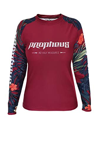 PROPHEUS MTB/MX Damen/Ladys Jersey Bordeaux Jungle Langarm für Downhill, Enduro und Motocross (L)