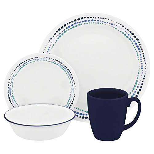 Corelle Livingware 32-Piece Dinnerware Set, Ocean Blues, Service for 8 (Two 16-Piece Sets) by Corelle Coordinates