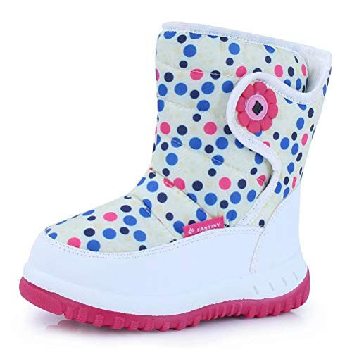 CIOR Winter Snow Boots for Boy and Girl Outdoor Waterproof with Fur Lined(Toddler/Little Kids) TX4-white-27