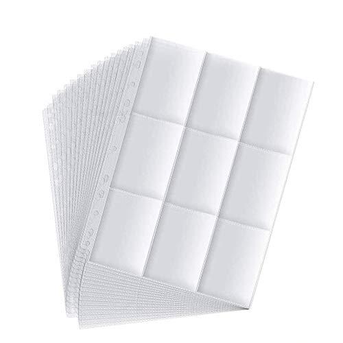 erlliyeu 540 Pockets Sammelkarten 60 Seiten Pro 9-Pocket Leere Transparent Sammelmapp,Album Ordnerseiten für Trading Cards (540 Pockets)
