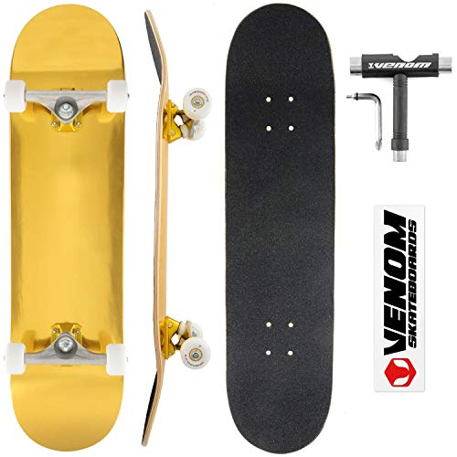 Venom Skateboards - Gold Supreme - Pro Complete Skateboard Inc Venom Gold Lagers, SWH Conical 52mm Wielen, Canadian Maple Deck & Enuff Super Light Vrachtwagens! - 8,0