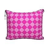 Manta de viaje y almohada, juego de almohada y manta de viaje, manta de viaje compacta, suave 2 en 1, cojín geométrico rosa caramelo