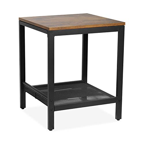 WGYDREAM Bedside Table Square End Table Industrial Coffee Table With Storage Shelf Wood Sofa Table Metal Frame Side Table For Living Room