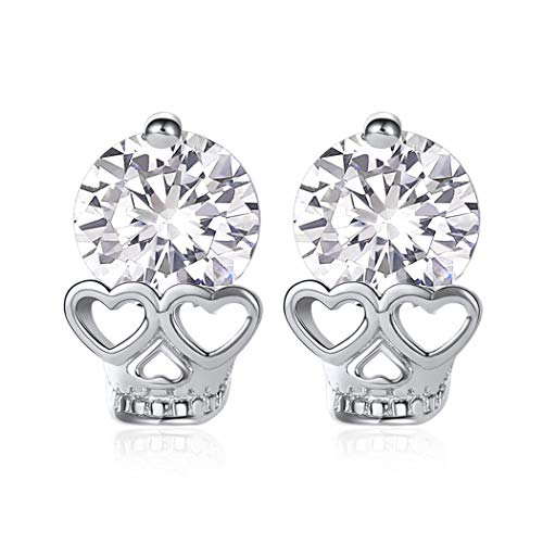 ChicSilver 925 Sterling Silber Damen Totenkopf Ohrstecker Damen Ohrringe in Totenkopfförmig als Geburtstag/Valentinstag Geschenke