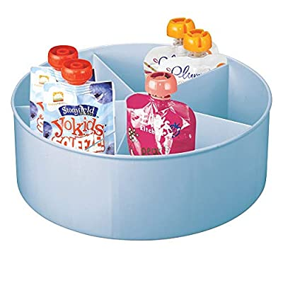 mDesign Plastic Lazy Susan Turntable Storage Tray - Divided Spinning Organizer for Nursery/Kid's Room - Store Lotions, Wipes, Diapers, Baby Shampoo - 5 Sections - Light Blue