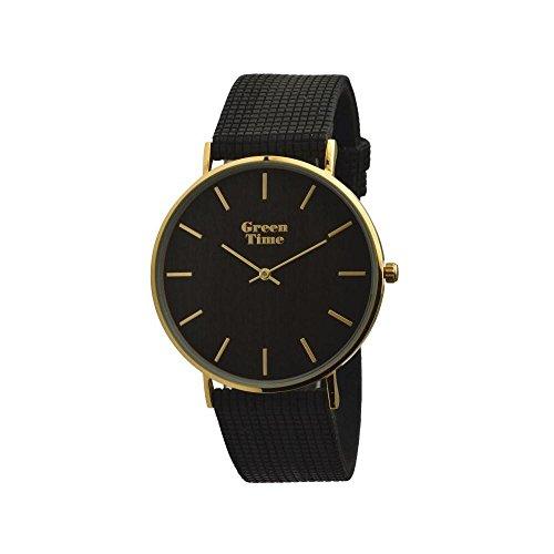 Orologio GreenTime VEGAN WOOD ZW060D Al quarzo (batteria) Acciaio placcato oro giallo Quandrante Marrone Cinturino - non applicabile