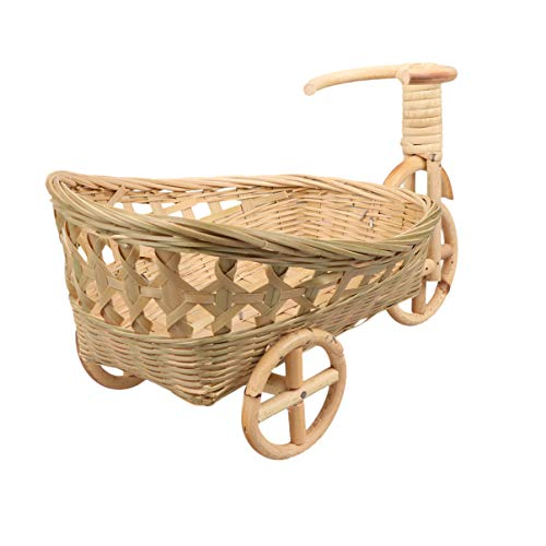 YARNOW Cesta de Mimbre Tejida para Frutas Cesta de Triciclo Vintage Cestas de Regalo Cestas de Pan de Mimbre de Bambú para Decoración de Mesa de Fiesta Tamaño XL