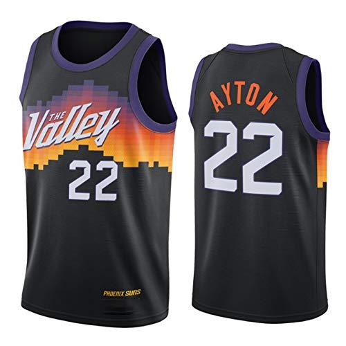 OJN Ayton - Camiseta de baloncesto para hombre, diseño de Suns n.º 22, color negro, malla neutra, transpirable, chaleco deportivo (S-XXL) M